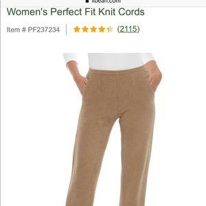 LL Bean comfort fit knit cords in camel sz L